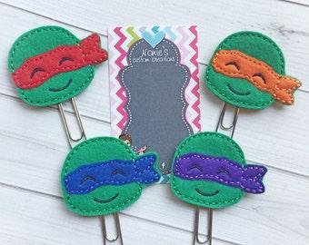 TMNT Paper Clip - Planner Paper Clip - Planner Paperclip - Planner Accessories - Turtle Paper Clip - Ninja Turtles Paper Clip-Turtle Feltie