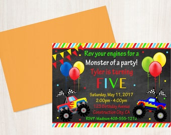 Monster Truck Invitation / Monster Truck Invite / Monster Truck Party / Monster Truck Birthday / Truck Birthday Invitation / Rev Your Engine