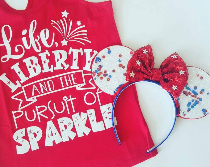 Patriotic Mouse Ears | Glow in the Dark Mouse Ears || Fourth of Jul || Mouse Ears || Sparkle Mouse Ears || Confetti Mouse Ears