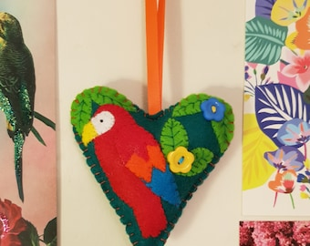 Red Parrot Handmade Felt Hanging Heart