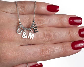 14K White Gold Silver U&ME Pendant Necklace