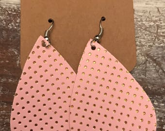 Pink and Gold Polka Dot Tear Drop