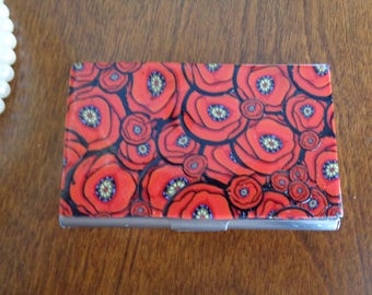 Business card holder, credit card holder,red poppies patterned polymer clay