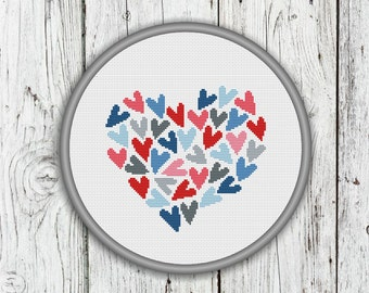 Valentine's Day Counted Cross Stitch Pattern, Love PDF Pattern, Hearts Cross Stitch, Instant Download
