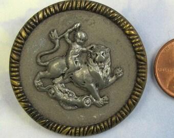 Antique Victorian Button Lion Picture Button 1 1/2 Large Brass Button 207