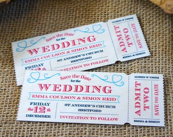 "Wooden  ""Save the Date"" Vintage Ticket Magnet"
