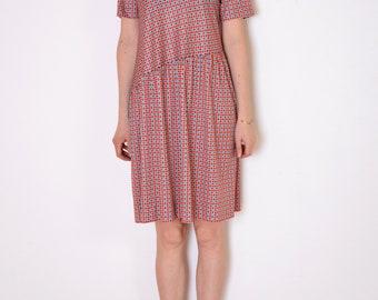 80's geometric print dress, asymmetric drop waist dress, red, navy black and white squares and stars print retro dress