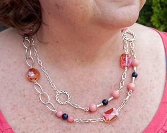 Unique Necklace ~ Long Necklace ~ Summer Necklace ~ Long Silver Necklace ~ Coral Necklace ~ Long Statement Necklace ~ Sweater Necklace
