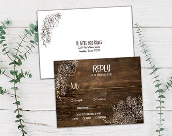 Rustic Succulent Wedding RSVP and Envelope, DYI or Printed