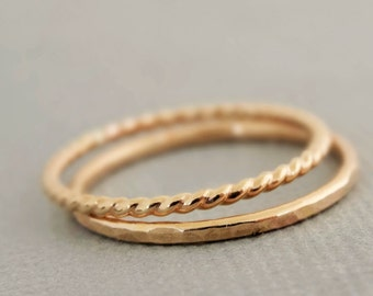 Gold Rings 1 Twist Ring and 1 Hammered Ring gift for mum 2 thin gold filled stacking rings