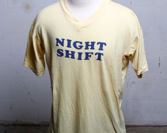 Vintage 80's Night Shift V Neck T Shirt Yellow Soft! XL