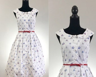 Ahoy Sailor Dress, Sailboat Cotton Dress, VLV Dress, Dapper Day Dress, Cotton Summer Dress, Day Dress Size Medium, Rockabilly Dress, Sailor