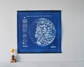 Large Cynotype Soviet Lunar Survey Chart