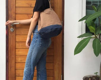 Brown/navy Canvas Bucket Bag with Strap /Leather Handles for Daily use, Travel, Gift