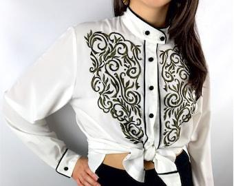 Vintage JACQUELINE FERRAR white embroidered mock neck blouse