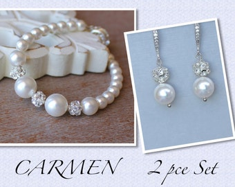 Pearl Jewelry Set, Pearl Earrings and Bracelet Set, Pearl & Crystal Wedding Jewelry Set, Bridesmaids Pearl Jewelry Set, CARMEN