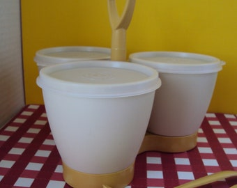 Vintage 70's  Tupperware condiments set -gold with almond -spoons included