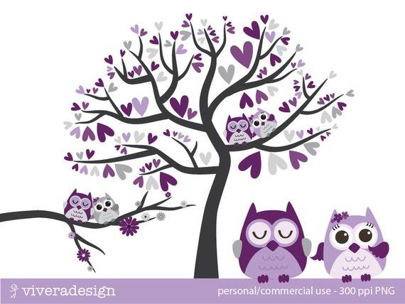 Owl Love Birds in Purple Lavender and Grey Digital Clip