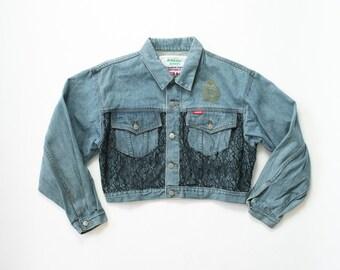 90s Rare Black Lace Denim Jacket / Womens 1990s Light Blue Stone Wash Jean Jacket / Oversized Soft Grunge Jacket / Denim Bomber / Medium