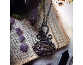Sculpted Unicorn Skull and Succulent Electroformed Copper Necklace - UNICORN MANOR wearable art - Dark gothic Romantic