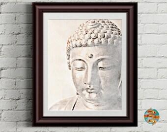 Buddha face, vintage style, Wall art decor, inspirational print