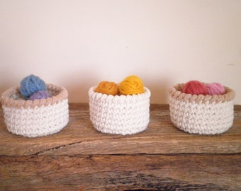 Miniature Crochet Baskets in Set of Three, Doll Baskets, Storage Baskets, Small Baskets in White & Brown, Country Decor, Gift for Women