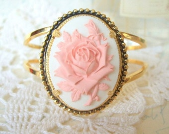 ON SALE  Large Antique Gold Cuff with Pink Floral Cab