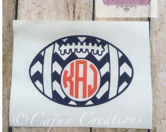 Football Monogram decal, car decal, laptop decals, computer decals, yeti decal, tumbler decals, vehicle decals