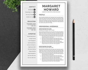 Creative Resume Template, Cover Letter, Word, US Letter, A4, CV Template, Professional Modern Teacher Resume, Instant Download, MARGARET
