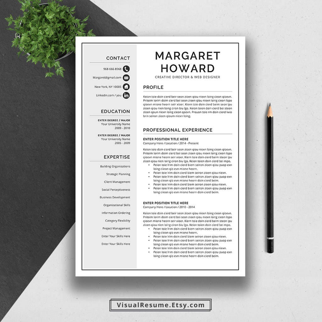 Creative Resume Template Cover Letter Word US Letter A4