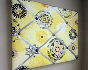 "16""x20"" French Memory Board, Bow Holder Yellow & Grey Floral Medallion, Bow Board, Memo Board, Photograph Holder, VIsion Board"