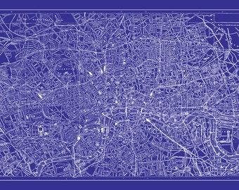 Airplane print on blueprint paper industrial art modern london map street map vintage poster print blueprint malvernweather Images