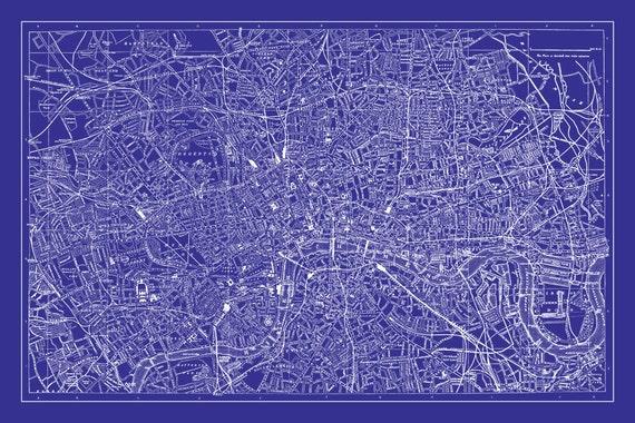 London Map Street Map Vintage Poster Print Blueprint