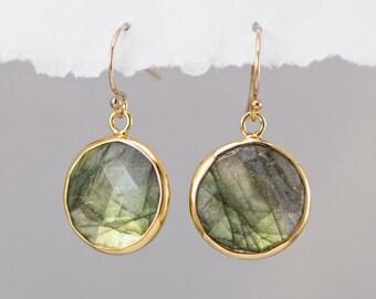Round Labradorite earrings - Drop Earrings - bezel earrings - round gemstone earrings - gold earrings
