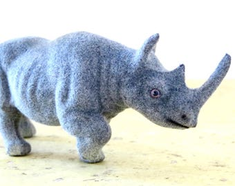 Vintage Kunstlerschutz Rhino Flocked Animal Wagner West Germany Grey Rhinoceros