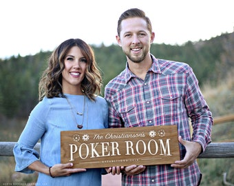 Personalized Wood Sign, Poker Room Sign, Poker Sign, Housewarming Gift, Game Room Sign, Home Decor Sign, Game Room Decor (GP1211)