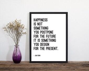 A Happy Future Print, Modern Wall Art, Modern Art Print, Wall Art, Modern Print, Typography Poster, Scandinavian Art, Minimalist Print