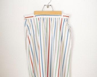 Striped Primary Color Midi Skirt