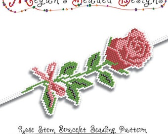 Bracelet Beading Pattern - Rose Stem Sculpted Brick or Peyote Stitch Color Chart Pattern - For Personal or Commercial Use