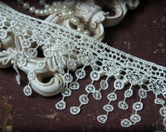 """Tresors   Ivory Lace  Trim, Lace , Guipure Lace, Venice Lace, Bridal Lace, , Lace Applique, Crafting Lace, 3.5"""" BN-003"""