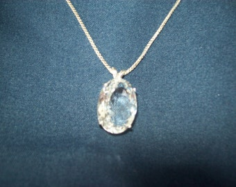 Crystal Quartz Pendant in Sterling Silver - Huge 18x13mm