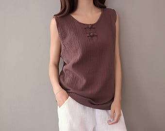Women cotton and linen vest – Chinese Style Loose Vest