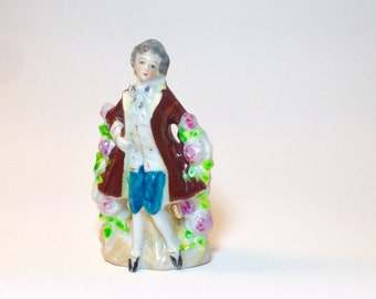 Vintage Mid Century Collectible Figurine Gentleman in Colonial Attire / Japan Figurine / Porcelain Figurine 1940s 1950s / Country Kitchen