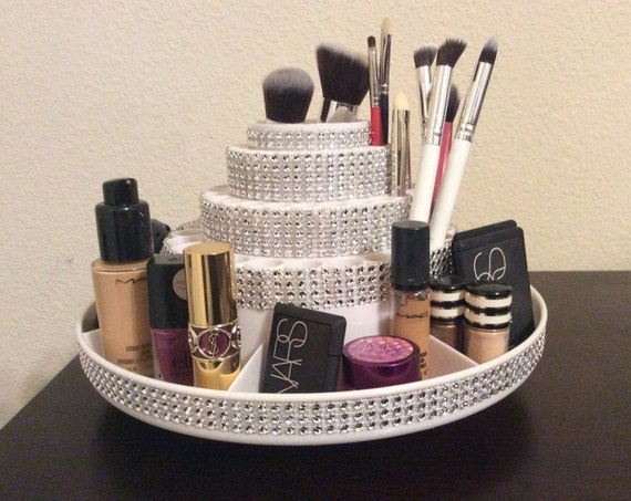 Rotating Makeup Brush Organizer With Storage For Accessories