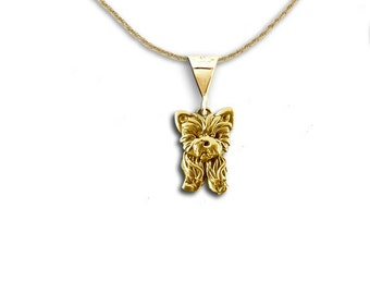 Yorkie necklace 4 yorkie puppy with bow pendant yorkie 14k gold yorkie puppy pendant aloadofball Choice Image