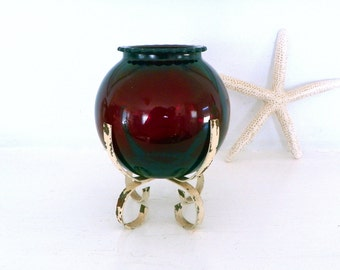Vintage Anchor Hocking Royal Ruby Glass Ivy Ball 50s Petal Top Red Glass Vase in Wrought Iron Stand