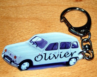 Renault 4L photo key chain personalized with a name or text