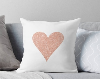 Rose gold heart pillow , Valentine's Day Gift, Personalised pillow, Love heart, Decor pillow, rose gold, love