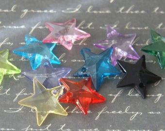 10 charms star acrylic transparent 18x18mm