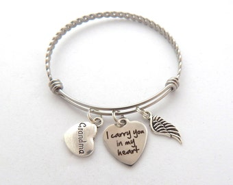 Memorial Jewelry, Sympathy Gift Grandma, SYMPATHY BRACELET, Loss of Grandmother, Remembrance Bracelet, In memory of, I carry you in my heart